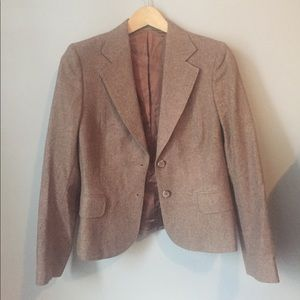 Vintage brown 100% wool blazer